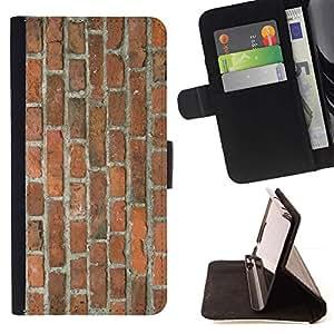 Momo Phone Case / Flip Funda de Cuero Case Cover - Pared de ladrillo Brown rústico Orange Street Building - Samsung Galaxy A3