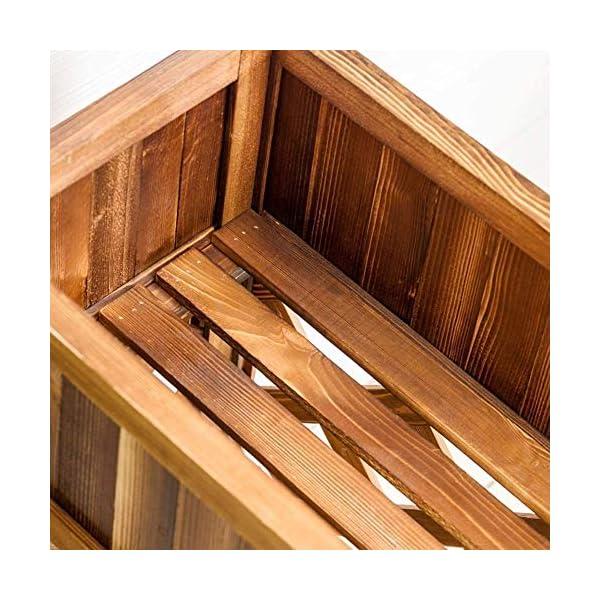 HEMFV Solido Fiore Legno Posizione Balcone Fence Wood Floor Minimalista Moderno Flower Pot Stand al Coperto Soggiorno 4 spesavip