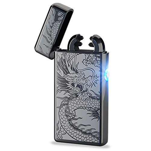 Pard Black Dragon Windproof Cross Arc Lighter, USB Rechargeable Flameless Electronic Pulse Arc Cigarette Lighter, Black Rechargeable Electronic Cigarette Kit