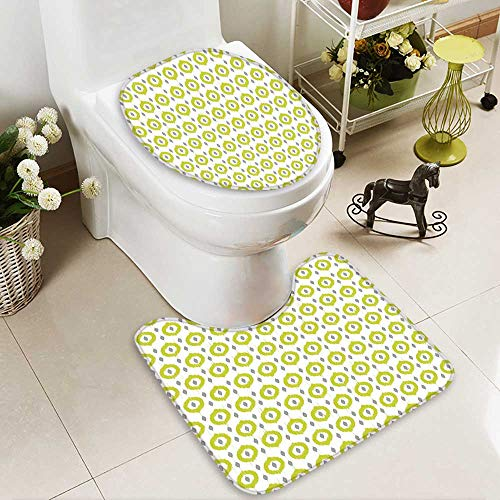 SOCOMIMI 2 Piece Extended Bath mat Set Abstract Round Oriental Asian Ancient Traditional Exotic Islamic Ikat Patterns Home Green 2 Piece Toilet Cover Set by SOCOMIMI