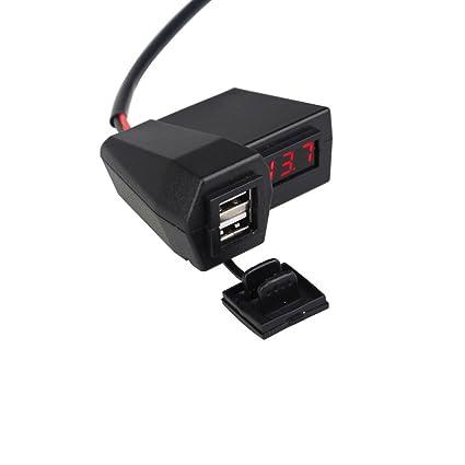 Deylaying impermeable doble puerto USB. Toma de corriente. Cargador de batería. Voltímetro. Interruptor para moto. rojo