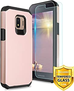 TJS Phone Case for Samsung Galaxy J2 Core/J2 2019/J2 Pure/J2 Dash/J2 Shine, with [Tempered Glass Screen Protector] Dual Layer Hybrid Shockproof Impact Rugged Armor Drop Protection Cover (Rose Gold)