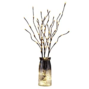 "EAMBRITE 3PK 30"" Brown Wrapped Lighted Twig Stake with 60LT Warm White LED bulbs for outdoor and indoor use(Vase Excluded)"