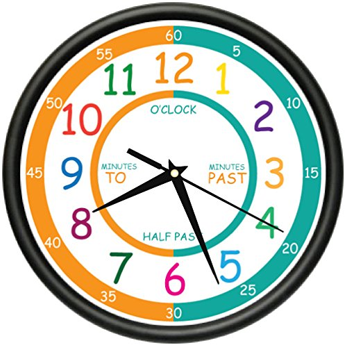 Amazon.com: EASY TO READ TEACHER Wall Clock elementary students school kids room gift: Home & Kitchen
