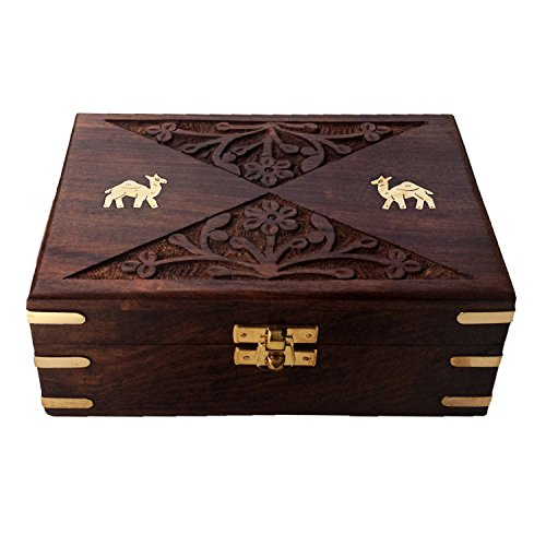 Handcrafted Velvet Inside Rectangle Jaipuri Rosewood Storage Box