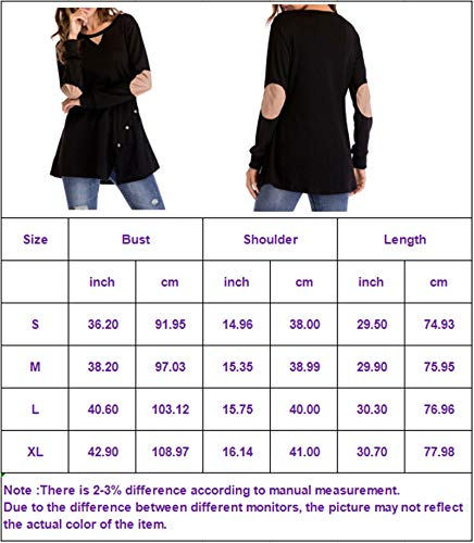 IMIDO Womens Tops Casual Long Sleeve Loose Side Buttons Elbow Patched Tunic T Shirt Blouse(S, Blue)