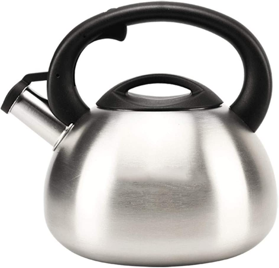qazxsw Stainless Steel Whistling Kettle with Silicone Handle Gas Kettle Home Thickened Kettle Food Grade 304 Stainless Steel Induction Cooker Gas General Automatic Whistle