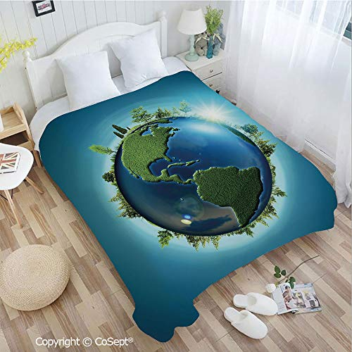 PUTIEN Luxury Flannel Blanket,Planet Covered with Blue Seas and Forest Continents Trees Greenery Nature,fit Couch Sofa Suitable for All Season(72.83