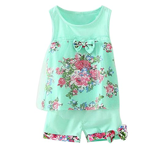 2PCS Toddler Baby Girl Floral Bowknot Vest+Shorts Kids Summer Clothes Outfit Set (Green(4~5T))