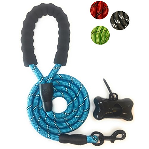 LUMIANO NEW dog Leash - 5 FT Reflective Leash for Night Safety with comfortable padded handle-for medium and large dogs