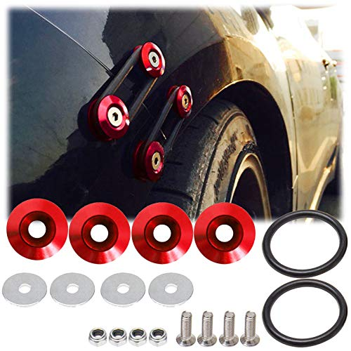 - JDM Quick Release Fasteners For Car Bumpers Trunk Fender Hatch Lids Red Color