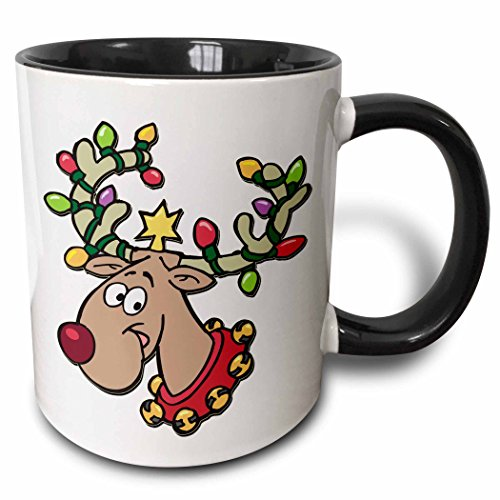 - 3dRose Blonde Designs Happy Holidays For All - Reindeer With Holiday Lighted Antlers - 15oz Two-Tone Black Mug (mug_160535_9)