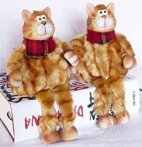 2 gatos de cerámica y tela gato sentado 22 cm Conjunto de 2: Amazon.es: Juguetes y juegos