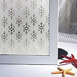 Bloss No Glue Decorative Pattern Matt Glass Film Window Stickers Bathroom Vinyl Decals Explosion-proof Grilles Paper (17.7-by-78.7 Inch)