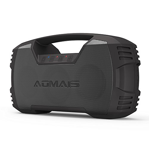 AOMAIS GO Bluetooth Speakers,Waterproof Portable Indoor/Outdoor 30W Wireless Stereo Pairing Booming Bass Speaker,30-Hour Playtime with 7200mAh Power Bank,Durable for Pool Party,Beach,Camping(Black)