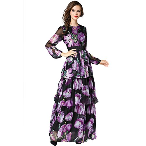 Round Collar Lantern Sleeve Printed Layered Skirt Chiffon Long Dress (X-Large, Purple) (Chiffon Layered Printed Skirt)