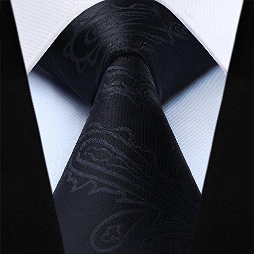Gilet Uomo Da Cravatta Black Paisley Hisdern Fazzoletto 3 Floral Classico E Jacquard Taschino x6Ew5qY5