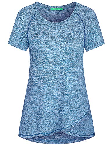 Kimmery Yoga Tops for Women, Loose Fit Light Soft Comfortable Athletic Shirt Short Sleeve Round Neck Irregular Hem Flattering Summer Workout Attire Stylish Lovely Performance Tunic Blue Medium