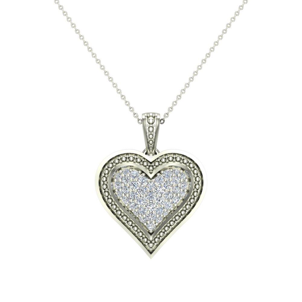 Glitz Design 0.56 ct Diamond Heart Pendant 14K White Gold (P0192)