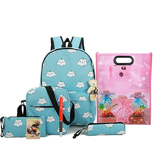 Green W14cm Canvas Backpack Gray 4Pcs Bookbag SES Backpacks H44cm Cute L30cm Printing wnn4qaU