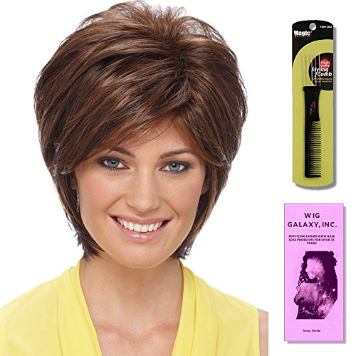 Renae by Estetica, Wig Galaxy Hair Loss Booklet & Magic Wig Styling Comb/Metal Pick Combo (Bundle - 3 Items), Color Chosen: CKISSRT4 by Estetica & Wig Galaxy