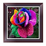 certainPL DIY 5D Diamond Painting by Number Kit, Full Drill Rhinestone Embroidery Arts Craft for Adults, 11.8''x11.8'', Flower
