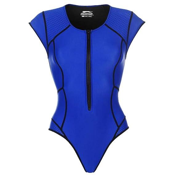 bbb0f5a382a13 Slazenger Womens Zip Short Sleeve Swimsuit Scoop Neck: Amazon.co.uk:  Clothing