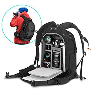 Camera Backpack Waterproof Camera Bag with Rain Cover, YKK Lockable Zipper, Skid-Proof Base for Sony Canon Nikon Olympus SLR/DSLR Camera, Lens and Accessories