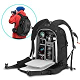 Camera Backpack 21' x 15' x 9' Camera Bag with Waterproof Rain Cover, Modular Inserts, YKK Lockable Zipper, Skid-Proof Base for Sony Canon Nikon Olympus SLR/DSLR/Lens/Laptop and Accessories, Black