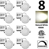 QPLUS 4 inch Dimmable LED Recessed Lighting Retrofit Potlight 10W (=75W) Natural White 4000K IC Rated Certified to CSA C22.2 No 9.0 Ultra Slim 750 Lumens Energy Star cETLus Thin Downlight Panel 5 Years Warranty (8 PACK)