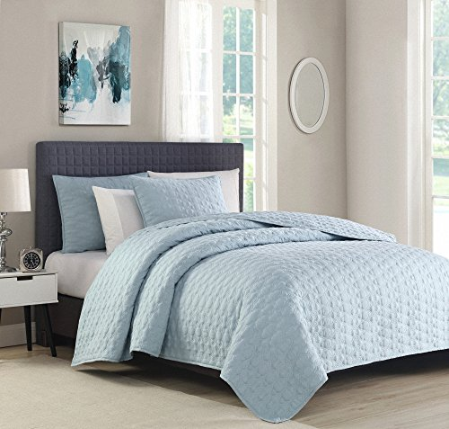 Bourina Reversible Bedspread Coverlet Set - Microfiber Lightweight Comforter 3-Piece Quilt Set King, Blue (Quilt Pale Blue)