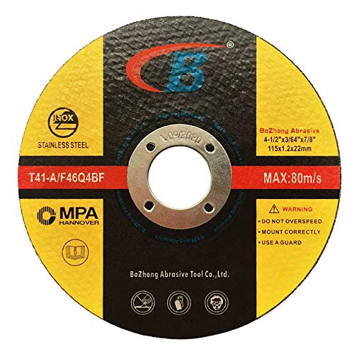 Cut-off Wheel, B, 50-Pack Cutting Wheels Double Reinforced Fiber Flat Grinding Wheel Aggressive Cutting Blades for Metal and Stainless Steel, T41-A/F46Q4BF 4.5
