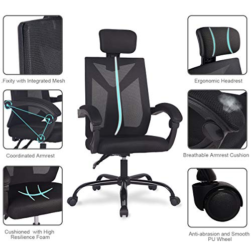 Ergonomic Home Office Desk Chair High-Back 150 Degree Reclining Swivel Mesh Computer Chair Gaming Chair with Lumbar Support Comfy Headrest and Armrest by UREST (Image #2)