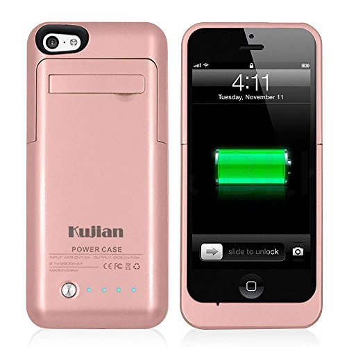 Kujian iPhone 5 External Battery Case Charger Backup Charging Power Case 2200mAh with Kickstand LED Indicatiors 8 colors for iPhone 5, 5S, 5C, SE Rose Gold (Rose Gold)