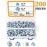 "VIGRUE 200Pcs 1/4""-20 3/8""-16 T-Nuts 4 Pronged Zinc Plated Steel Tee Blind Nut for Wood, Rock Climbing Holds, Cabinetry"