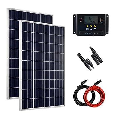 Giosolar Solar Kit 200W (2 x 100W) Polycrystalline solar panel kit Off grid Solar System battery charger monocrystalline LCD controller complete