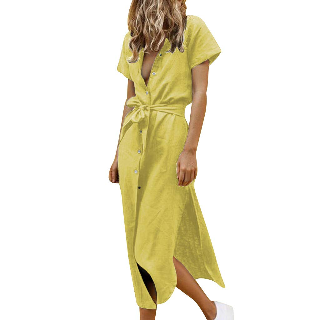 BIBICAT Women Sexy Style Button Casual Plus Size Ladies Dress Clothing with Belt Ruched Waist Short Cocktail Party Yellow by 🎈BIBICAT🎈 Clothes