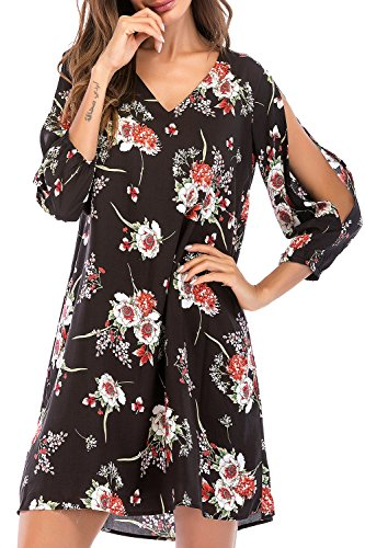 Pattern Shoulder Cut Out - SUNNOW Women's V Neck Floral Print Cold Shoulder Open Sleeves Summer Beach Shift Dress (M (US8-10), Black)