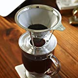 European Stainless Steel Single Cup Pour Over and Hand Drip Coffee Dripper / Filter with Stand | For Brewing Methods