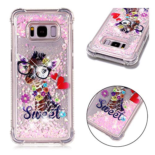 Galaxy S8 Case, Dooge [Cartoon Pattern] Shockproof Anti-Scratch Glitter Liquid Sparkle Floating Bling Waterfall Fusion Protective TPU Bumper Case for Samsung Galaxy S8