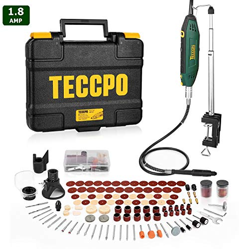 Rotary Tool TECCPO, High Performance, 10000-40000RPM, 6 Variable Speed with Flex shaft, Universal Keyless Chuck, Sharpening Guide, 120 Accessories Ideal for Crafting Project and DIY Gifts