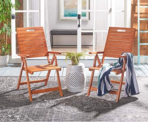 Safavieh PAT7060A-SET2 Outdoor Collection Rence Natural Brown Folding Set of 2 Patio Chair