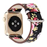 YuKing Flower Design Strap for Apple Watch,Soft PU Leather Floral Printed Style Watch Band 38mm 42mm Strap Wrist Band for iWatch Smart Fitness Watch Series 3 2 1 Version (Black+ Pink 38mm)
