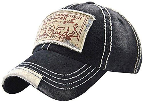 Cap Racing Baseball Hat (Xuzirui Vintage Washed Cotton Baseball Cap Trucker Hat Distressed Denim (Black))