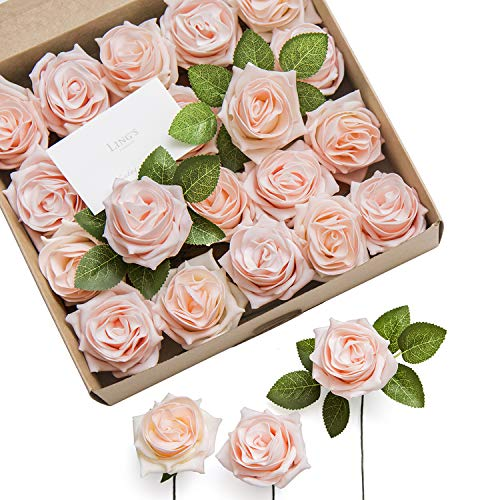(Ling's moment Roses Artificial Flowers 25pcs Realistic High-Centered Blush Heirloom Garden Roses for DIY Wedding Bouquets Centerpieces Floral Arrangements Decorations)