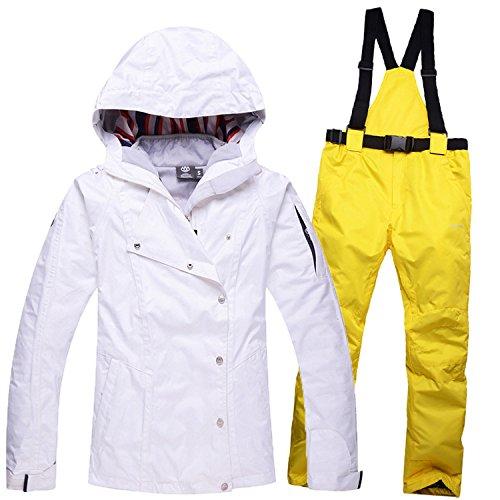 DYF Sport Ski Hat Manteau manche longue Zipper Bretelles Pantalon Blanc,Jaune,épaissie XG