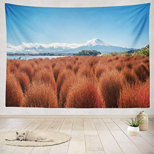 ASOCO Tapestry Wall Handing Autumn in Mount Fuji Japan Landscape Wall Tapestry for Bedroom Living Room Tablecloth Dorm 60X60 Inches