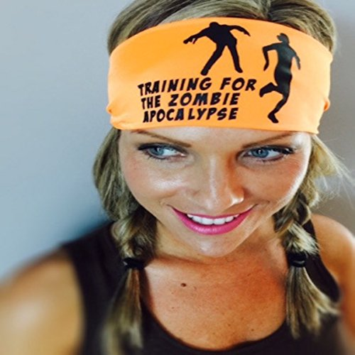 Zombie Apocalypse. Grey headband with white design. Headbands By Hippie Runner. The #1 Choice For Athletes! No Slip, No Drip Headbands For Running, Walking, Exercise Or -