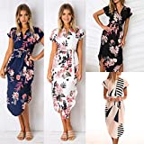 Extaum Women Pencil Dress Floral Geometrical Print O Neck V Cut Irregular Short Sleeves Summer Casual Dress