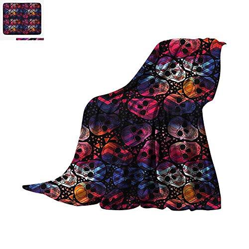 Halloween Throw Blanket Mexican Sugar Skulls Stylized Digital Polygonal Geometric All Saint Day Display Warm Microfiber All Season Blanket for Bed or Couch 90